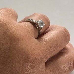 💎5/$40 Rhodium Ring w/ 2 CT Solitaire CZ Size 9